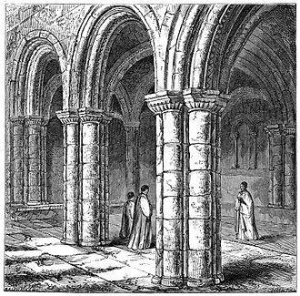 Richard Hakluyt - The Norman chapter house of Bristol Cathedral (engraving 1882). Hakluyt was a member of the chapter.