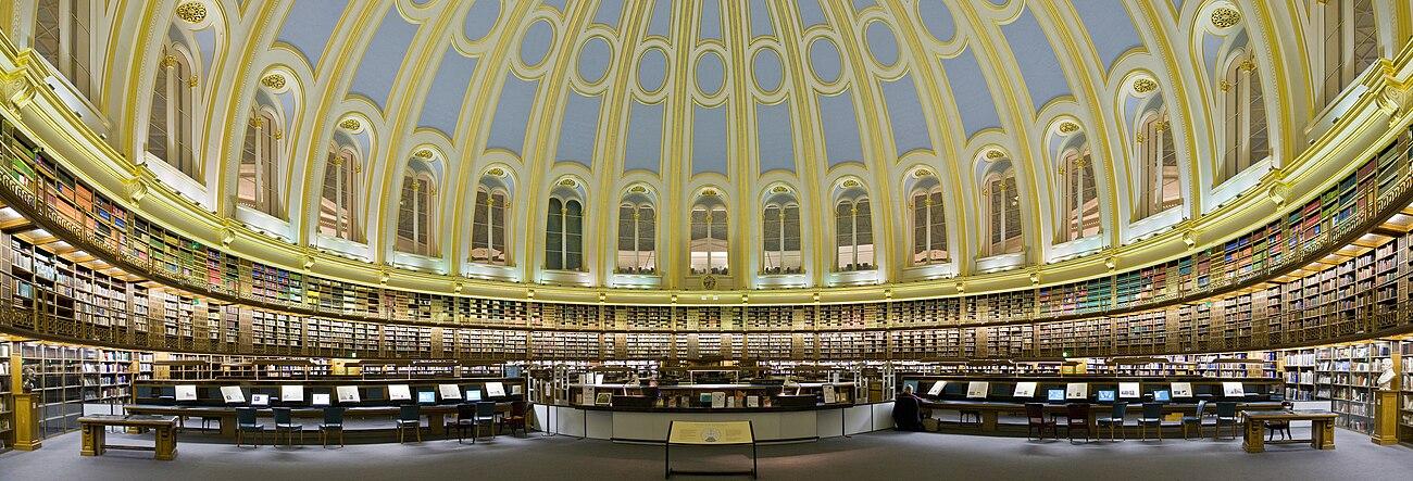 אולם הקריאה הראשי של הספרייה הבריטית במוזיאון הבריטי (עד 1997)