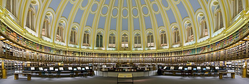 The British Museum Reading Room, London. This building used to be the main reading room of the British Library; now it is itself a museum exhibit.