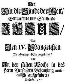 Titelblatt des Librettos der Brockes-Passion von 1712 (Quelle: Wikimedia)