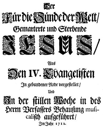 Brockes Passion - Title page of the Brockes Passion (1712)
