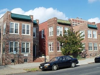 The Bronx County Historical Society - The Bronx County Historical Society's Research Library at 3309 Bainbridge Avenue (far left) and The Bronx County Archives at 3313 Bainbridge Avenue (far right).
