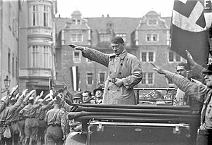 World War II - Adolf Hitler at a German National Socialist political rally in Weimar, October 1930