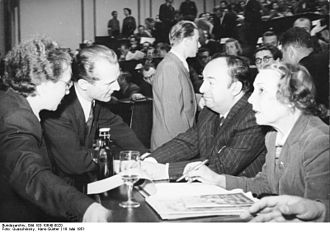Pablo Neruda - Neruda with his wife and Erich Honecker in 1951
