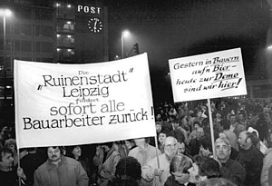 Monday demonstrations in East Germany - Demonstrators with banners. This demonstration took place after the fall of the wall.
