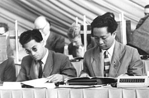 Communist Party of Indonesia - Dipa Nusantara Aidit (right) and Revang of PKI at the Fifth Congress of the Socialist Unity Party of Germany, East Berlin, 11 July 1958