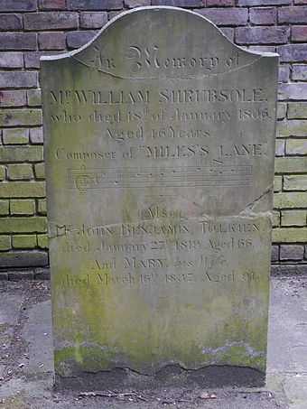 Headstone for William Shrubsole (died 1806), musician and composer, with John Benjamin Tolkien (died 1819) and Mary Tolkien (died 1837) Bunhill Fields, London 26.JPG