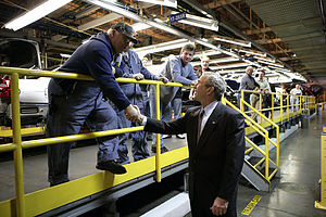 General Motors Fairfax Assembly Plant - President George W. Bush shaking hands with Fairfax assembly line workers on March 20, 2007