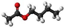 Ball-and-stick model of the butyl acetate molecule