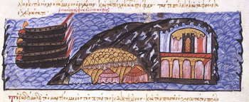 The siege of Chandax, the capital of Muslim Crete, depicted in the Madrid Skylitzes manuscript