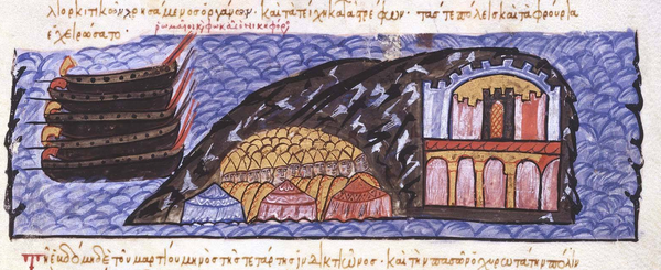 Depiction of the siege of Chandax (960-961) from the history of John Skylitzes