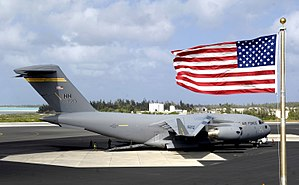 Wake Island Airfield - A C-17 Globemaster III sits on the flight line at Wake Island on January 12, 2008. The C-17, from the 15th Airlift Wing, Hickam Air Force Base, Hawaii, brought members of Pacific Air Forces headquarters to conduct a site survey of the island.