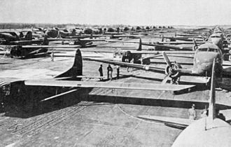 Operation Varsity - C-47s and CG-4A gliders before take-off, 24 March 1945.