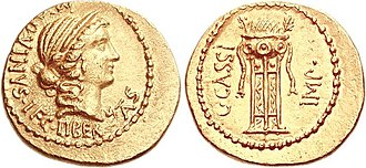 Cassia (gens) - Aureus of Gaius Cassius Longinus, the tyrannicide, 42 BC.  The obverse features Libertas, a patron-god of the Cassii and of the Liberatores.  The tripod is a reference to his position of quindecimvir sacris faciundis.