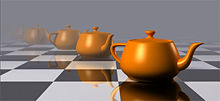 A line of five golden, computer-generated teapots recedes into the distance on a checkerboard floor. The closest teapot is clearly visible, but the other four are increasingly obscured by a gray fog.