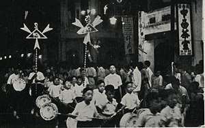 Malaysian Chinese - Chinese school children with lanterns, Penang, 1937.
