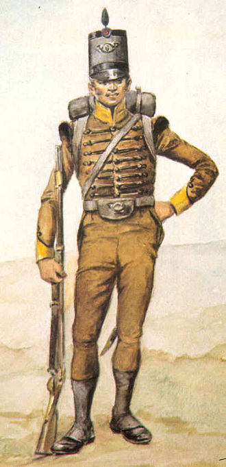 Light infantry - Portuguese Army light infantryman (caçador) of the Peninsular War, with earth-tone uniform aiding concealment, compared to bright uniforms of line infantry