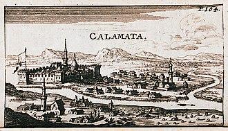 Kalamata - Gravour of Calamata, 1686