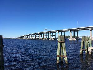 Caloosahatchee Bridge - Caloosahatchee Bridge as seen from Centennial Park