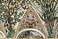 Camillo mantovano, volta della sala a fogliami di palazzo grimani, 1560-65 ca., lunette con grottesche e rebus allusivi al processo per eresia di giovanni grimani 17.jpg