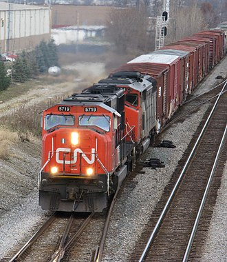 Rail transport - Two Canadian National diesel locomotives pull a southbound freight train on the Norfolk-Southern railroad, near Columbus, Ohio in the United States