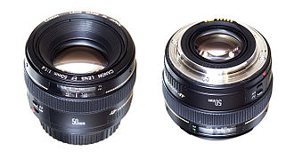 Canon EF 50mm lens - Front and rear views of a Canon EF 50mm f/1.4