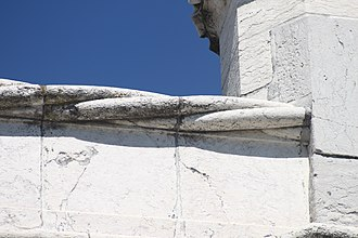 Restelo Hermitage - A detail of the twine cornice that encircles the terrace of the hermitage