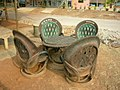 Car tires as seats in Thailand.JPG