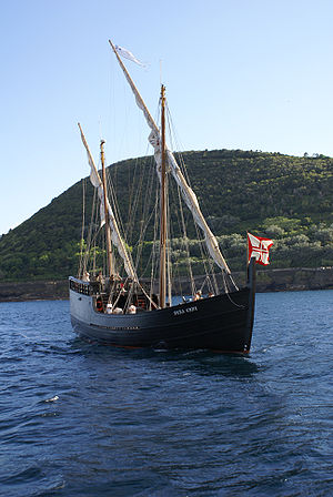 Monte Brasil - The caravel Vera Cruz enters the Porto de Pipas in Angra Bay: this would have been a common site during the 15th and 16th centuries