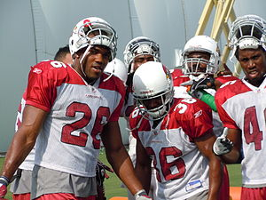Beanie Wells - Wells (left) and teammates during 2010 preseason camp.