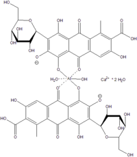 Estructura de la carmina, complejo del ácido carmínico con aluminio