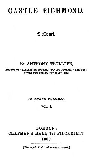 Castle Richmond - First edition title page