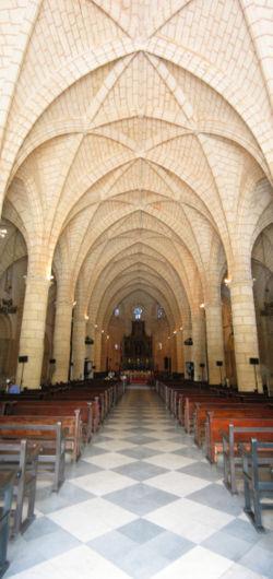 Interior of Catedral Primada in Santo Domingo, Dominican Republic.
