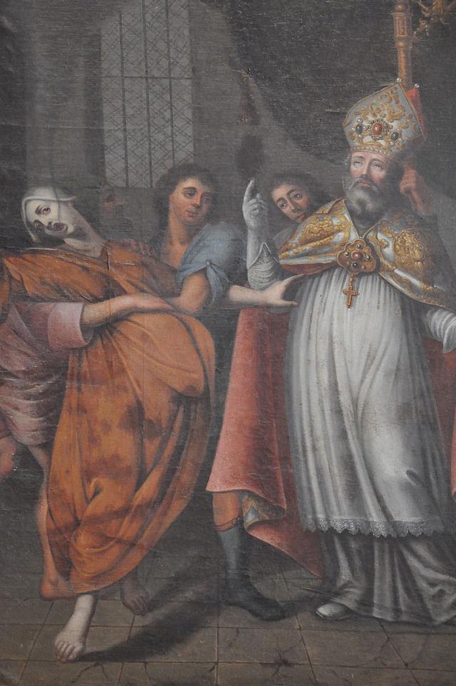 Exuperius gjennomfører en eksorsisme, bilde i katedralen i Bayeux