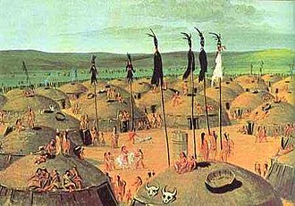 Mandan - Painting of a Mandan village by George Catlin, c. 1832