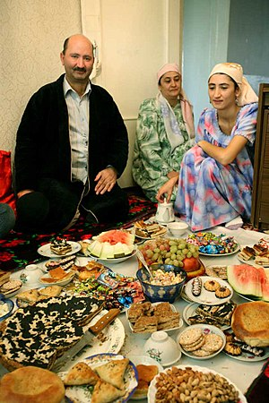 Islam in Central Asia - Muslim family in Tajikistan celebrating Eid-i Fatr