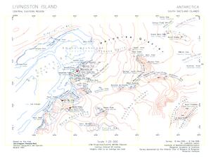 Rezen Knoll - Topographic map of central-eastern Livingston Island featuring Rezen Knoll.