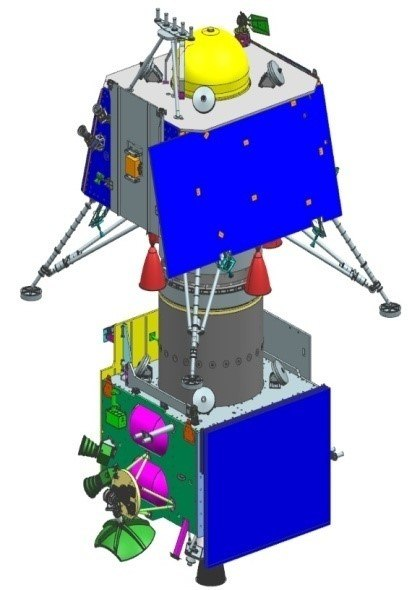 Chandrayaan-2 lander and orbiter integrated stack