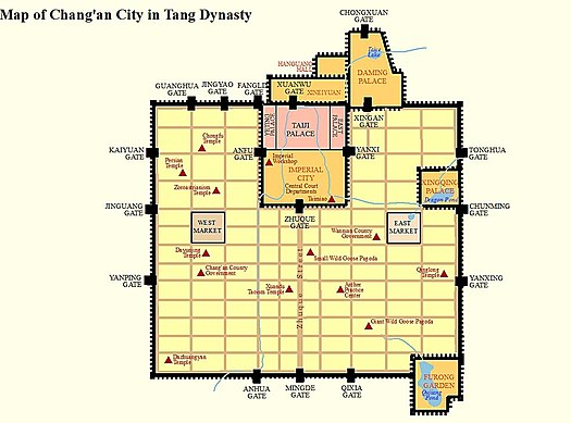 Map of Chang'an during the Tang dynasty Chang'an of Tang.jpg