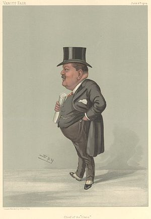 """Sir Charles Cayzer, 1st Baronet - """"Chief of the 'Clans'"""" Cayzer as caricatured by Spy (Leslie Ward) in Vanity Fair, June 1904"""