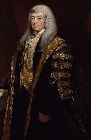 Charles Pepys, 1st Earl of Cottenham - Lord Cottenham wearing ceremonial robes when presiding in the House of Lords as Lord Chancellor. Detail of a painting by Charles Robert Leslie.