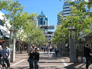 Chatswood, New South Wales - Victoria Avenue pedestrian mall known as Chatswood Mall, facing west towards Chatswood railway station