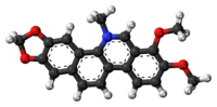 Ball-and-stick model of the chelerythrine molecule