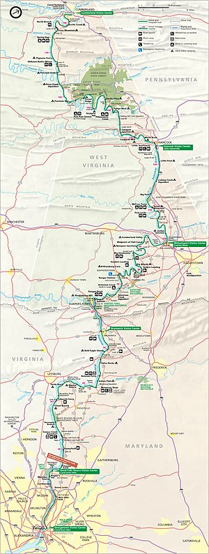 Chesapeake and Ohio Canal National Historical Park - Park map