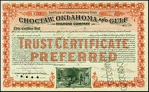 Choctaw, Oklahoma and Gulf Railroad - Preferred share of the Choctaw, Oklahoma and Gulf RR company, issued 1901