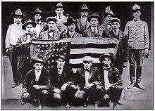 Group of Choctaw soldiers holding American flag