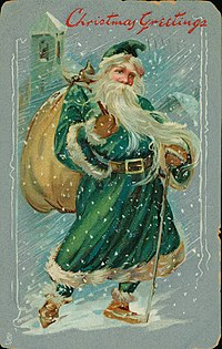 "Christmas postcard with Santa Claus wearing green robes, carrying full sack, with ""Christmas Greetings."""