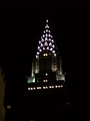 Architecture of the night - Spire of the Chrysler Building, New York, 1930, illuminated in 2005 in a brighter version of the scheme designed by William Van Alen