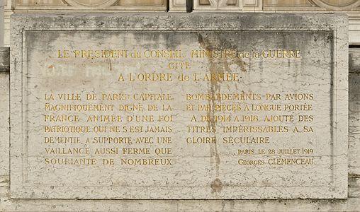 Citation Paris ordre armée 1914-1918 Clémenceau.jpg