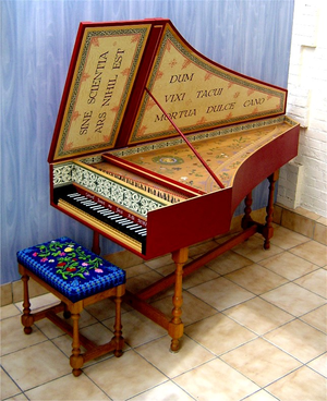 Musical keyboard - Harpsichord with black keys for the C major scale